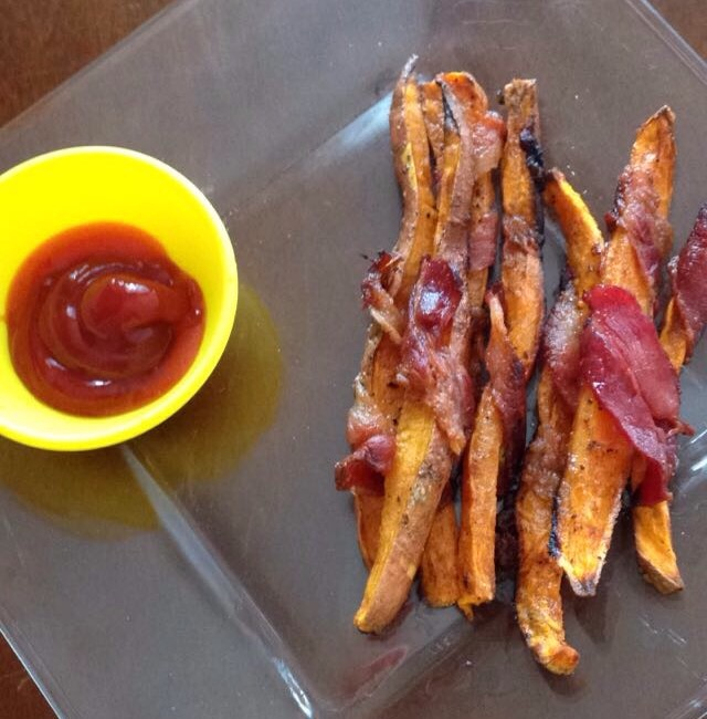 Bacon-Wrapped Sweet Potato Fries | Fit Blonde Yogi